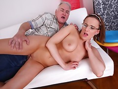 When he gets Amy's panties off, this old guy simply can't control himself and has to get his cock in her tight pussy as soon as possible before her boyfriend comes back into the room.video