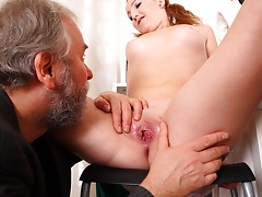 Sveta and her boyfriend bring in an older lover who loves younger women. She gets her top lifted off and he loves petite younger women to make love to. video