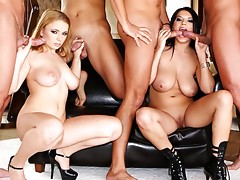 Sexy young sluts with real big tits gangbanged by hard cocksvideo