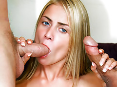 Hot young blonde deep throats the fuck out of 2 huge cocks!video