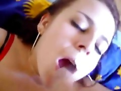 Naughty Euro chick filmed in the bedroom while fucking hard and getting jizzed onvideo