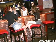 Two seductive brunette babies came to a bar to have a drink. The barman and his friend couldn't miss such opportunity to fuck these bitches.  The girls don't mind sucking their rods deep throat.  Watch this fascinating porn movie and masturbate as long as you want.video