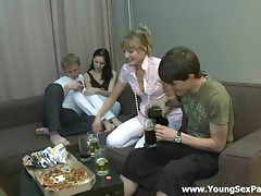 A couple of guys invited two cuties to spend an evening together at home. They drank together beer and relaxed. No doubts that the main purpose of this visit is banging. The girls get undressed showing their delights. It is impossible to resist the temptation of fucking them.video