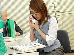 Hot office worker Rino Mizusawa seduces one of her clients and enjoys in playing with his hard rod in front of her boss, gets her shaved slit stimulated and stretched with fingering session and pleased really rough on her desk before giving headsvideo