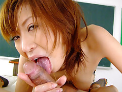 Dirty teacher Jun Kusanagi shows her turned on student some new tricks from cock sucking and pleasing lessons after school in the classroom after their classes during his detention time and uses her feet as well to make him pleased in a point of viewvideo